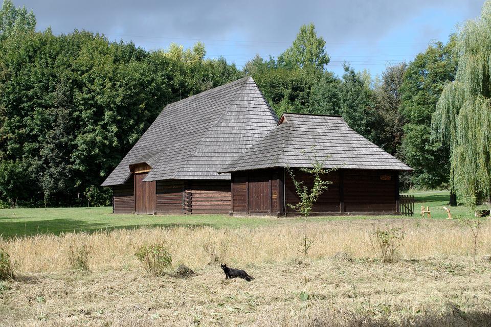 Fotografia prezentuje dwa drewniane budynki stojące obok siebie, wysoki iniski. Oba mają wysoki spadzisty dach. Wtle widoczne drzewa.