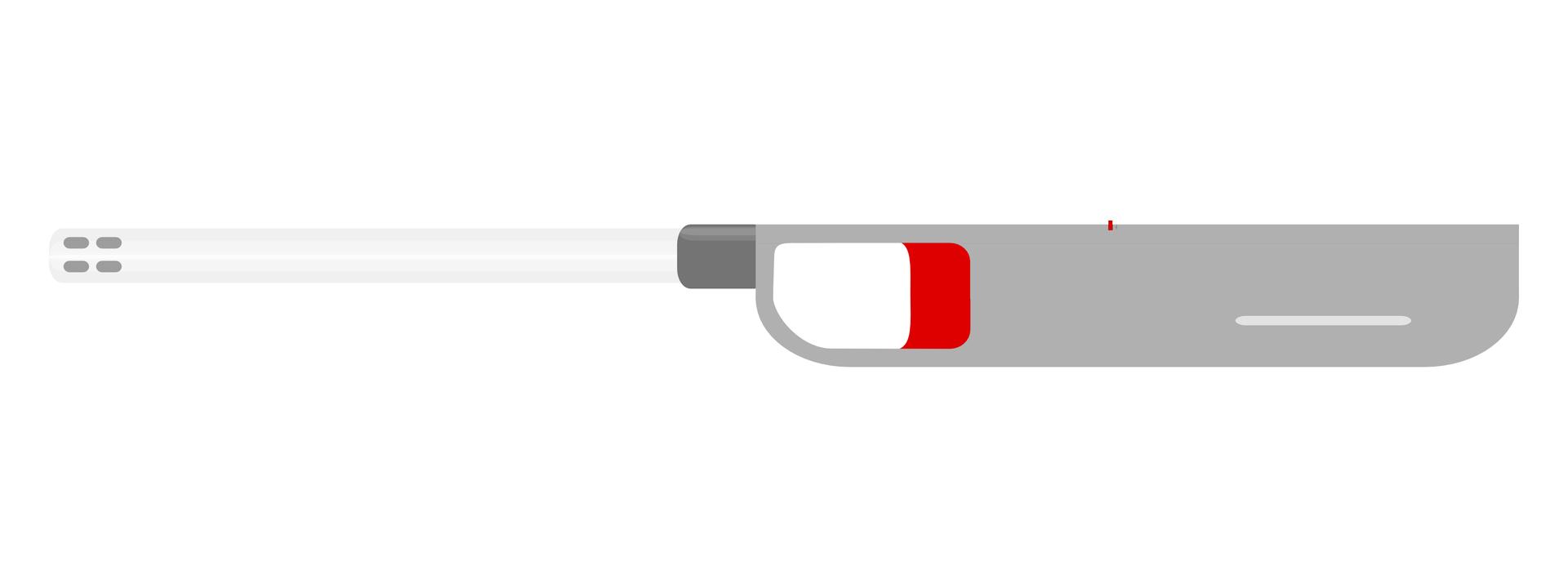 Rysunek przedstawia piezoelektryczną ręczną zapalarkę do gazu. Korpus podłużny, szary, wpołowie długości czerwony przycisk spustowy, po lewej stronie na końcu wąskiej srebrnej rurki wylot iskrownika.
