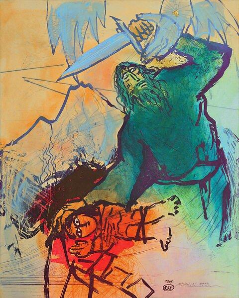 Ofiara Izaaka Źródło: Adi Holzer, Ofiara Izaaka, ręcznie-kolorowana akwaforta, domena publiczna.