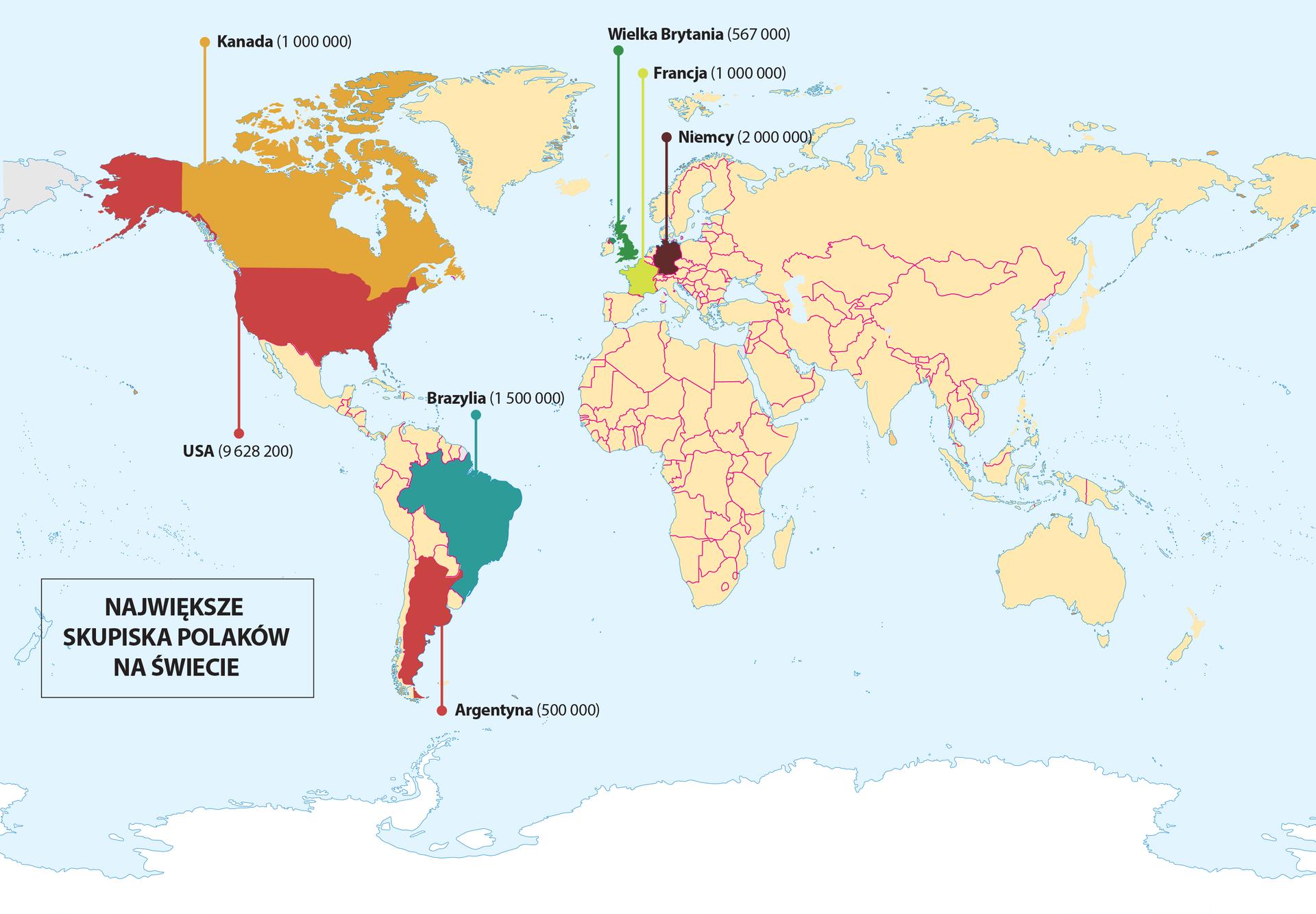skupiska polaków na świecie Źródło: Contentplus.pl sp. zo.o., licencja: CC BY 3.0.