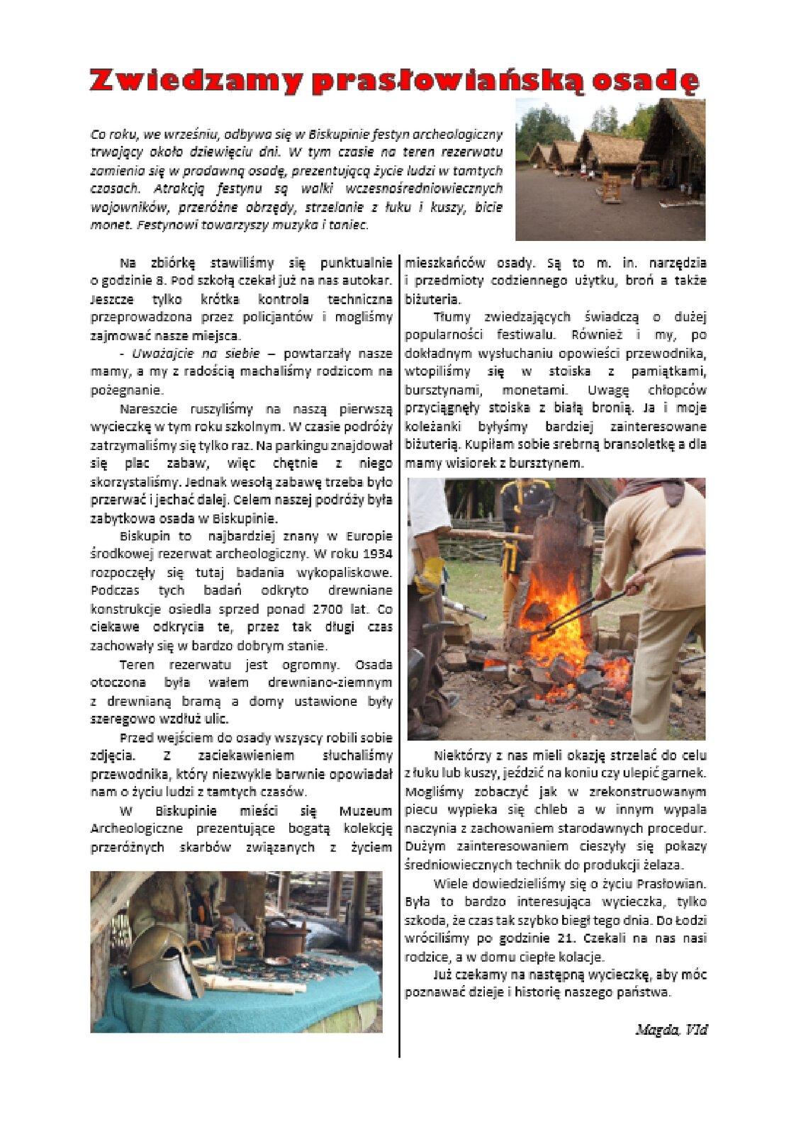 Zrzut strony szkolnej gazety ztekstem podzielonym na dwie kolumny