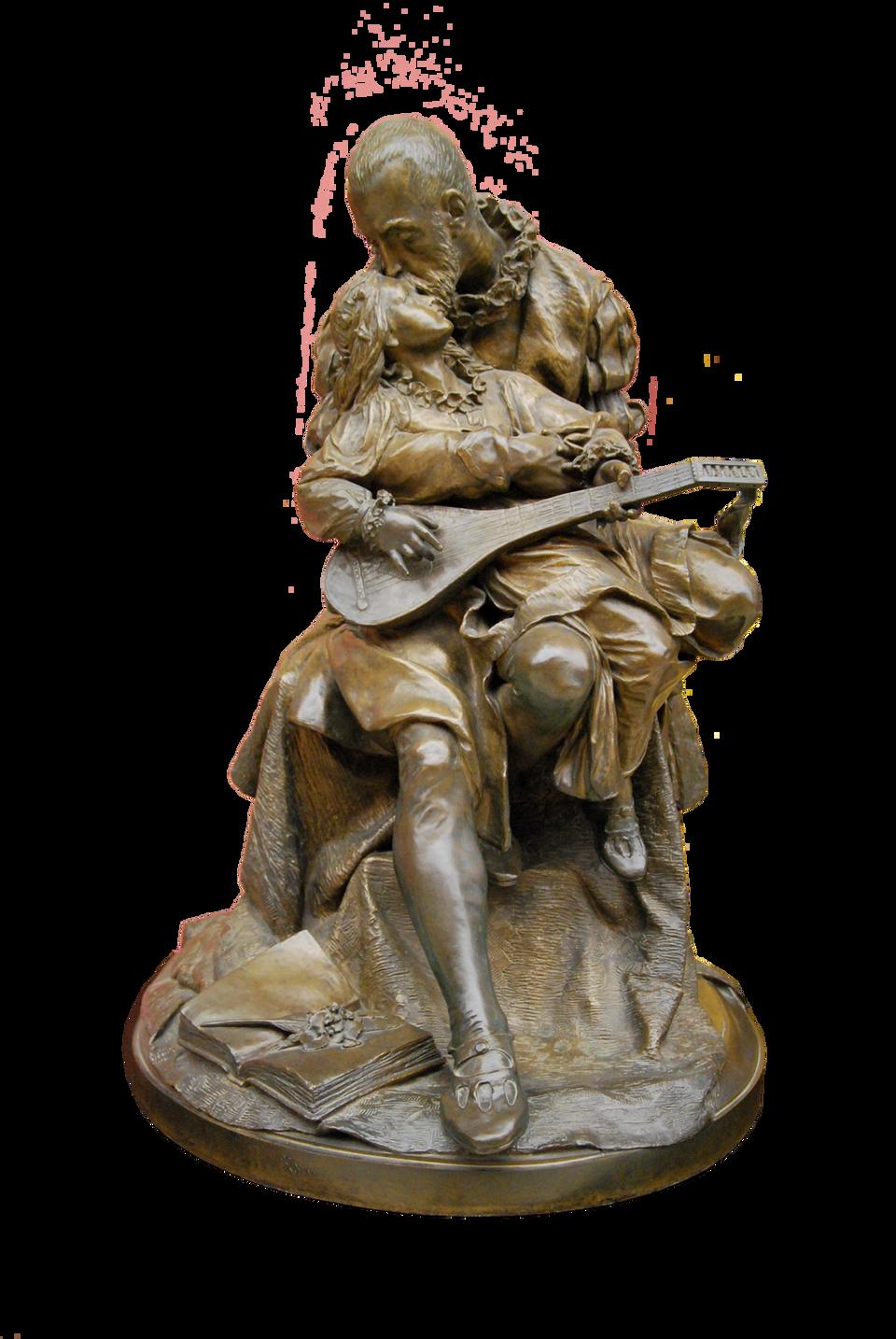 Jan Kochanowski zUrszulką Źródło: Zygmunt Trembecki (1847–1922; polski rzeźbiarz), Jan Kochanowski zUrszulką, 1878, Galeria Sztuki Polskiej XIX wieku wSukiennicach, Kraków, domena publiczna.
