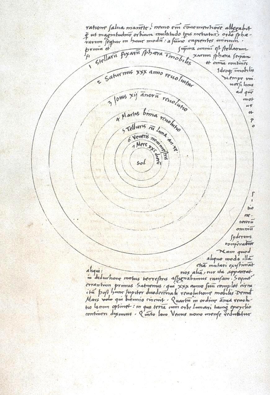 """Strona zrękopisu """"O obrotach sfer niebieskich"""". Karta 9 Źródło: Mikołaj Kopernik, Strona zrękopisu """"O obrotach sfer niebieskich"""". Karta 9, 1520-1541, atrament na papierze, Biblioteka Jagiellońska, domena publiczna."""