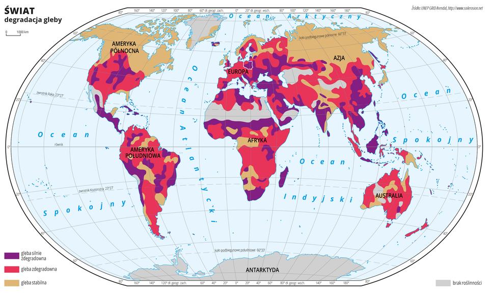 Ilustracja przedstawia mapę świata. Opisano kontynenty. Morza zaznaczono kolorem niebieskim. Opisano oceany. Białą linią zaznaczono kontur Polski.Na mapie wobrębie lądów kolorami przedstawiono degradację gleb. Kolorem fioletowym zaznaczono gleby silnie zdegradowane, kolorem czerwonym gleby zdegradowane, akolorem beżowym gleby stabilne. Większą część mapy zajmuje kolor fioletowy iczerwony przenikający się nierównomiernie. Północne rejony Ameryki Północnej, północna część Skandynawii ipółnocne rejony Azji zaznaczone są kolorem beżowym. Nieliczne beżowe plamy występują również wkilku miejscach wAmeryce Południowej, Afryce iAustralii. Na Grenlandii, Antarktydzie ina Saharze kolorem szarym zaznaczono brak roślinności.Mapa pokryta jest równoleżnikami ipołudnikami. Dookoła mapy wbiałej ramce opisano współrzędne geograficzne co dwadzieścia stopni.Po lewej stronie mapy wlegendzie umieszczono trzy kolorowe prostokąty opisane: gleby silnie zdegradowane, gleby zdegradowane, gleby stabilne.