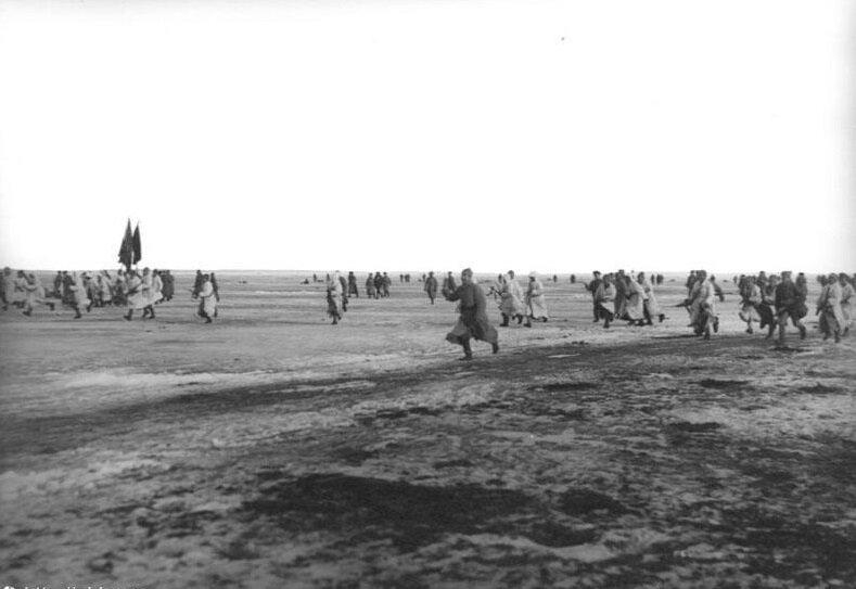 Fotografia przedstawia żołnierzy biegnących wjednym kierunku na rozległym płaskim terenie. Większość ma broń, kilku znich trzyma sztandary.