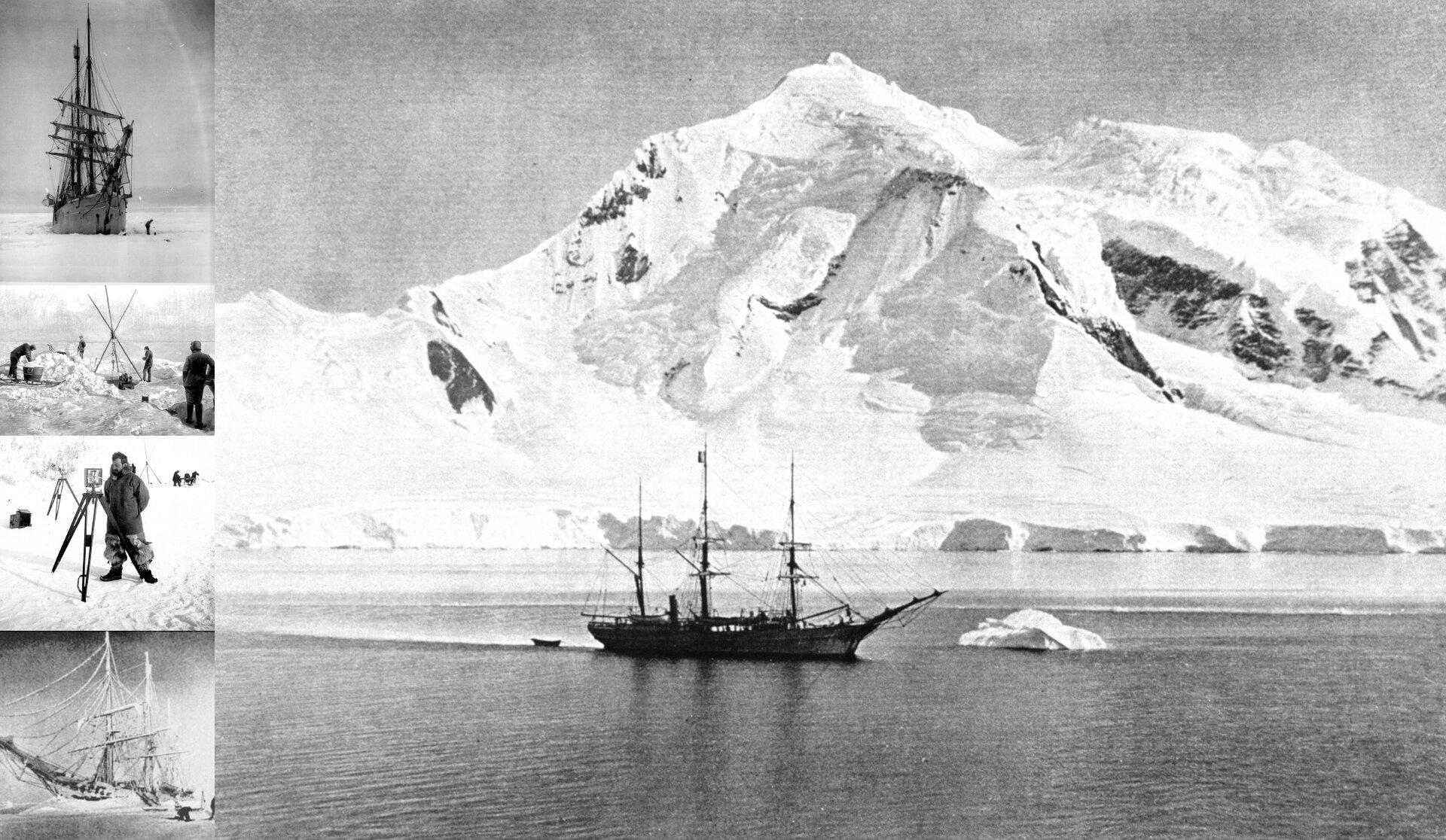 Czarno-biała fotografia prezentuje trójmasztowy statek płynący po morzu, na tle białychych ośnieżonych gór.
