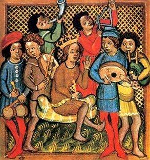 Ilustracja przedstawiająca średniowiecznych trubadurów