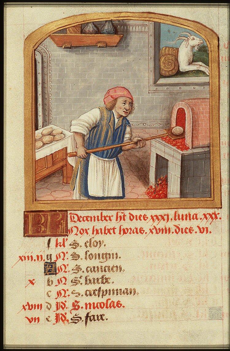 Piekarz przy pracy (karta ze średniowiecznego kalendarza – miesiąc grudzień) Piekarz przy pracy (karta ze średniowiecznego kalendarza – miesiąc grudzień) Źródło: domena publiczna.