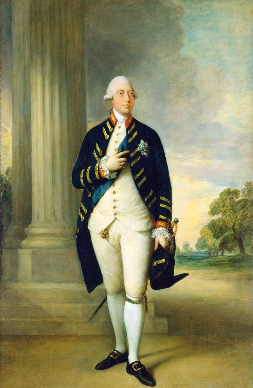 Jerzy II JerzyII na portrecie znanego angielskiego malarza Thomasa Gainsborough. (1781); portret znajduje się obecnie wBuckingham Palace wLondynie. Źródło: Thomas Gainsborough, Jerzy II, 1781, Olej na płótnie, Buckingham Palace, domena publiczna.