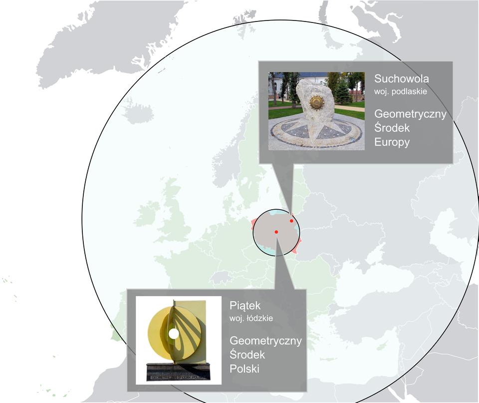 Geometryczny środek Polski iEuropy