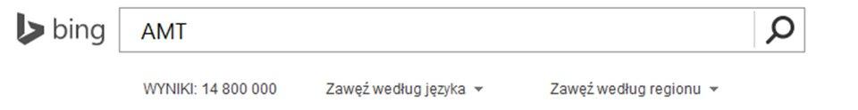 Zrzut paska wyszukiwarki Bing zwpisanym AMT oraz widocznym wynikiem wyszukiwania