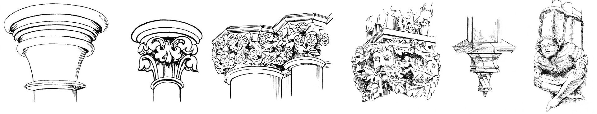 Ilustracja przedstawia rysunki głowic gotyckich. Różnią się one zdobieniami. Pierwsza, tzw. talerzowa jest najprostsza, pozbawiona dekoracji. Wdrugiej, talerzowo-liściastej zastosowano  dekorację wpostaci liści winorośli. Dwie kolejne mają dekoracje zkwiatów. Wnastępnej pojawiają się motywy głów połączone zliśćmi winorośli. Ostatnia głowica jest skręcona.