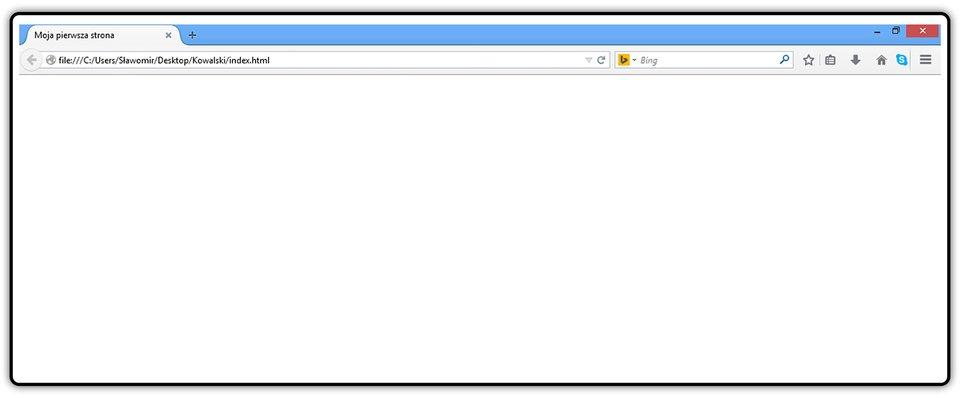 Zrzut okna przeglądarki zwidocznym tytułem dokumentu HTML na górnym pasku okna przeglądarki widoczny .
