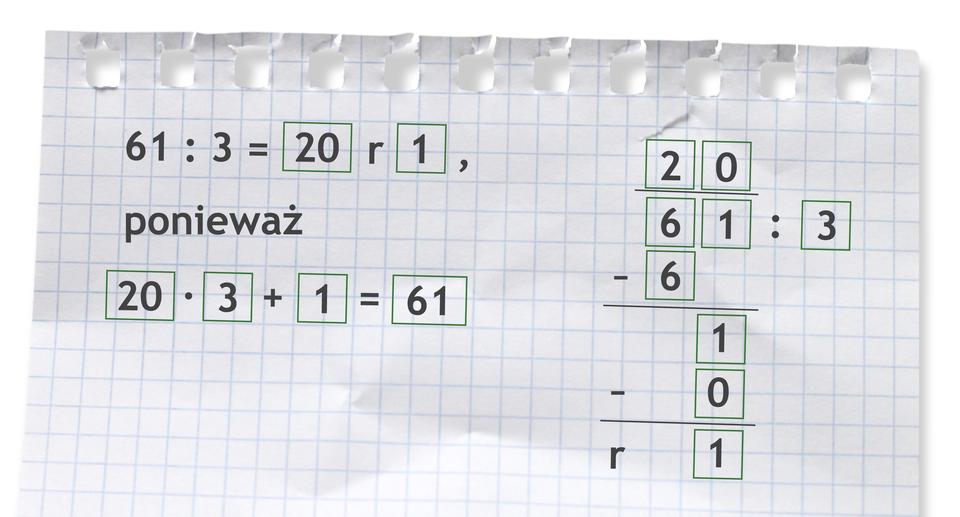 Przykład: 61 dzielone przez 3 =20 r1, ponieważ 20 razy 3 +1 =61. Rozwiązanie zadania podpunkt b.