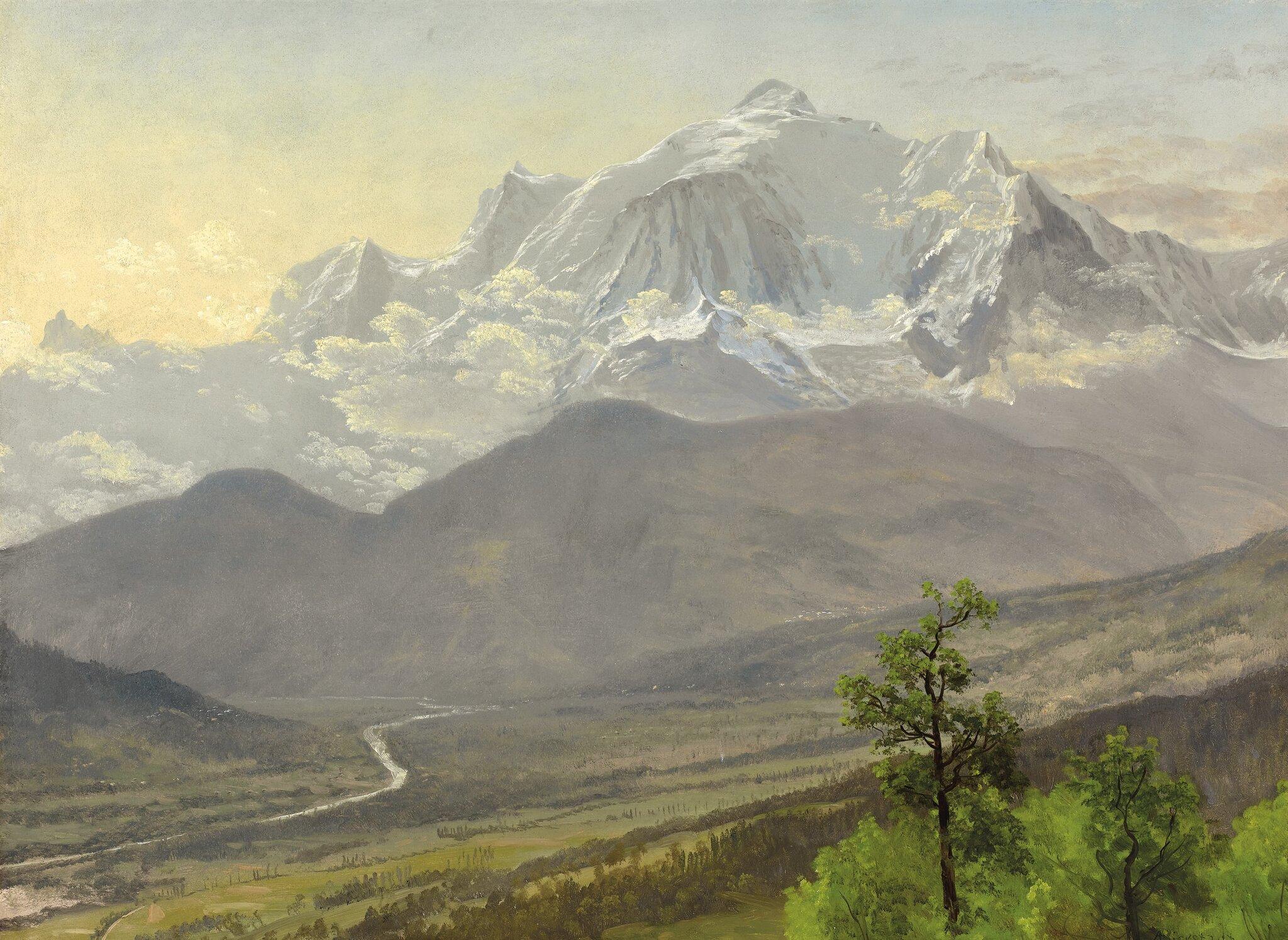 Mont Blanc Źródło: Albert Bierstadt, Mont Blanc, 1895, olej na papierze ipłótnie, domena publiczna.