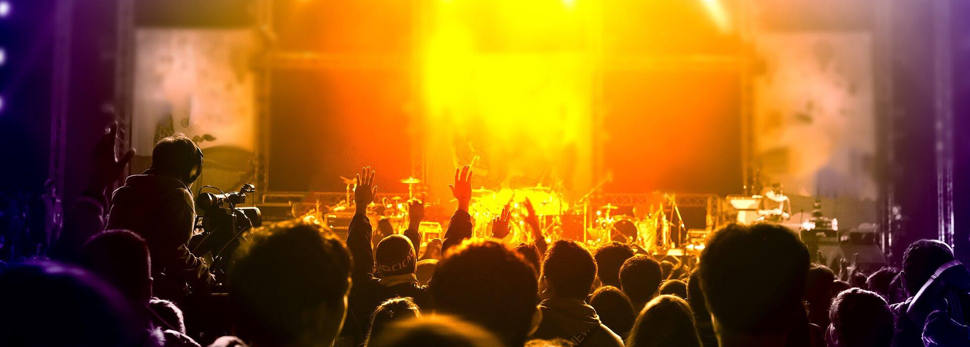 Kolorowe zdjęcie przedstawia scenę istojący przed nią tłum. Na scenie ustawione są instrumenty muzyczne – daje się odróżnić perkusję, mikrofony. Tłum ludzi zwrócony tyłem do obserwatora, patrzący wkierunku sceny. Widoczne są tylko głowy iwyciągnięte wgórę pojedyncze ręce. Po lewej stronie kadru, zwrócony tyłem do obserwatora, siedzi operator kamery, filmujący koncert.