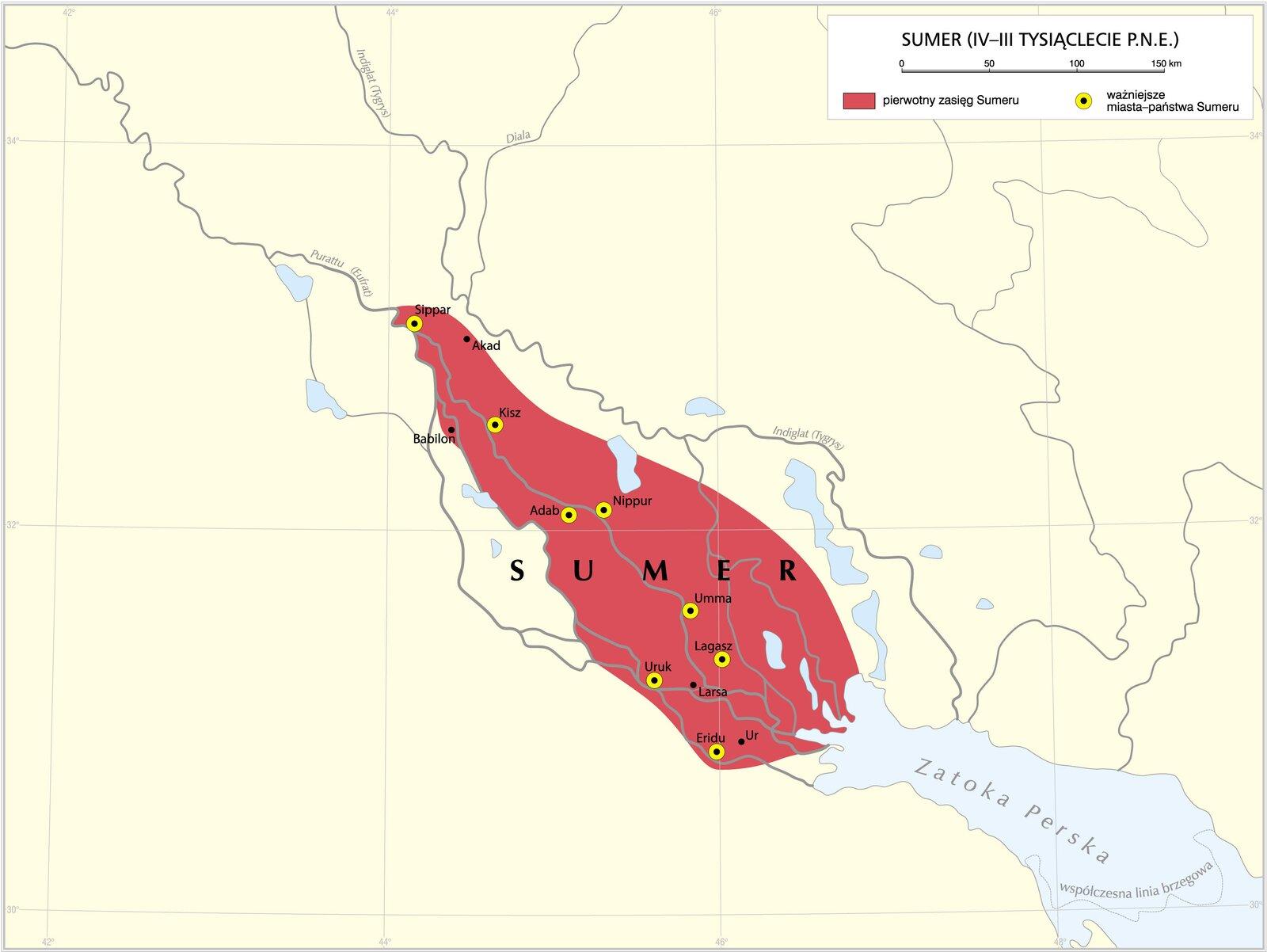 Mapa przedstawiająca zasięg państwa Sumer wdorzeczu rzek Tygrys iEufrat na Bliskim Wschodzie.