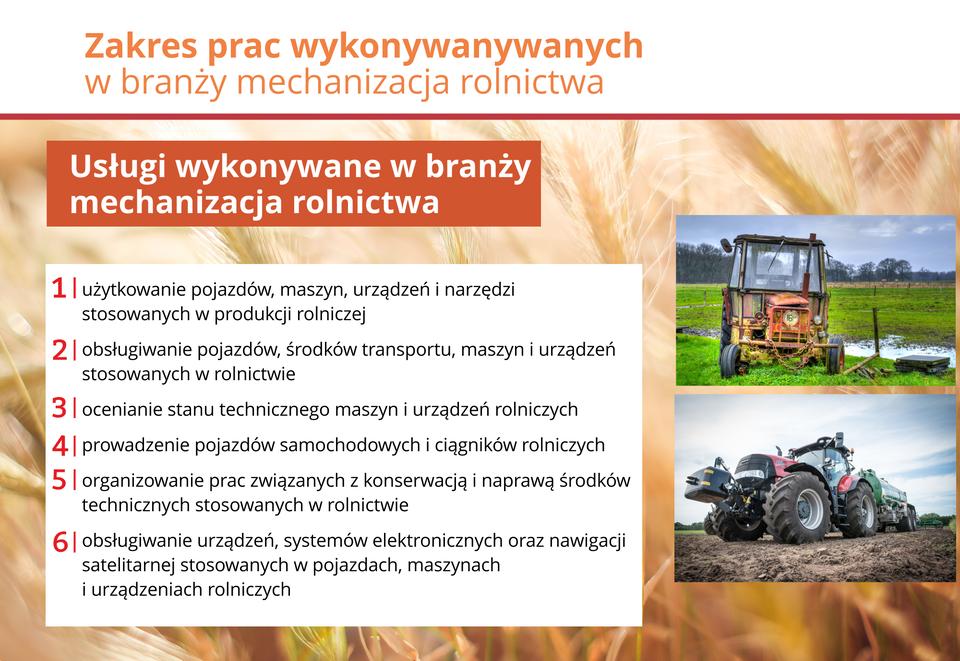 Ilustracja przedstawia usługi wbranży mechanizacji rolnictwa.