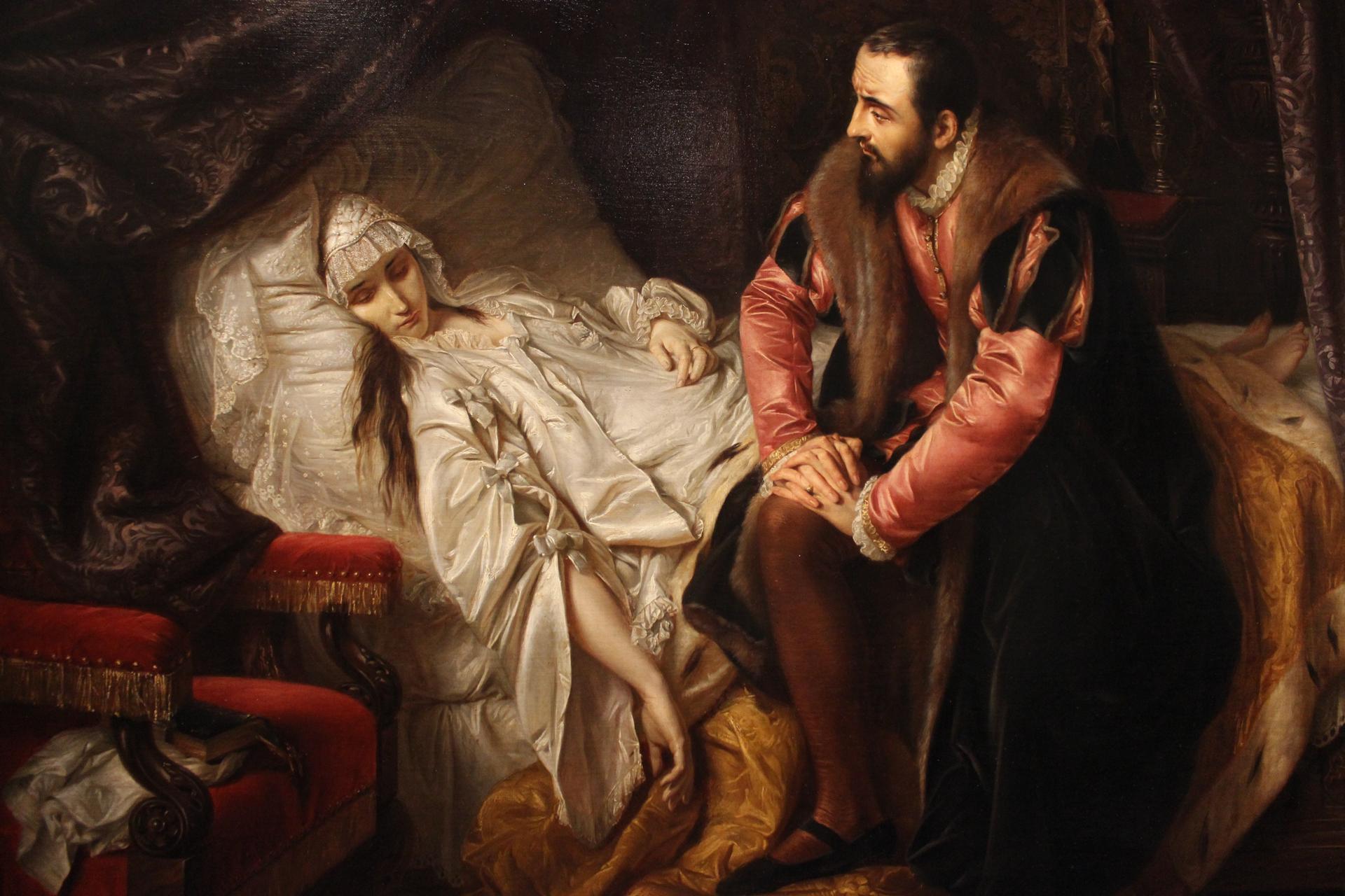 Śmierć Barbary Radziwiłłówny Źródło: Józef Simmler, Śmierć Barbary Radziwiłłówny, 1841, olej na płótnie, domena publiczna.