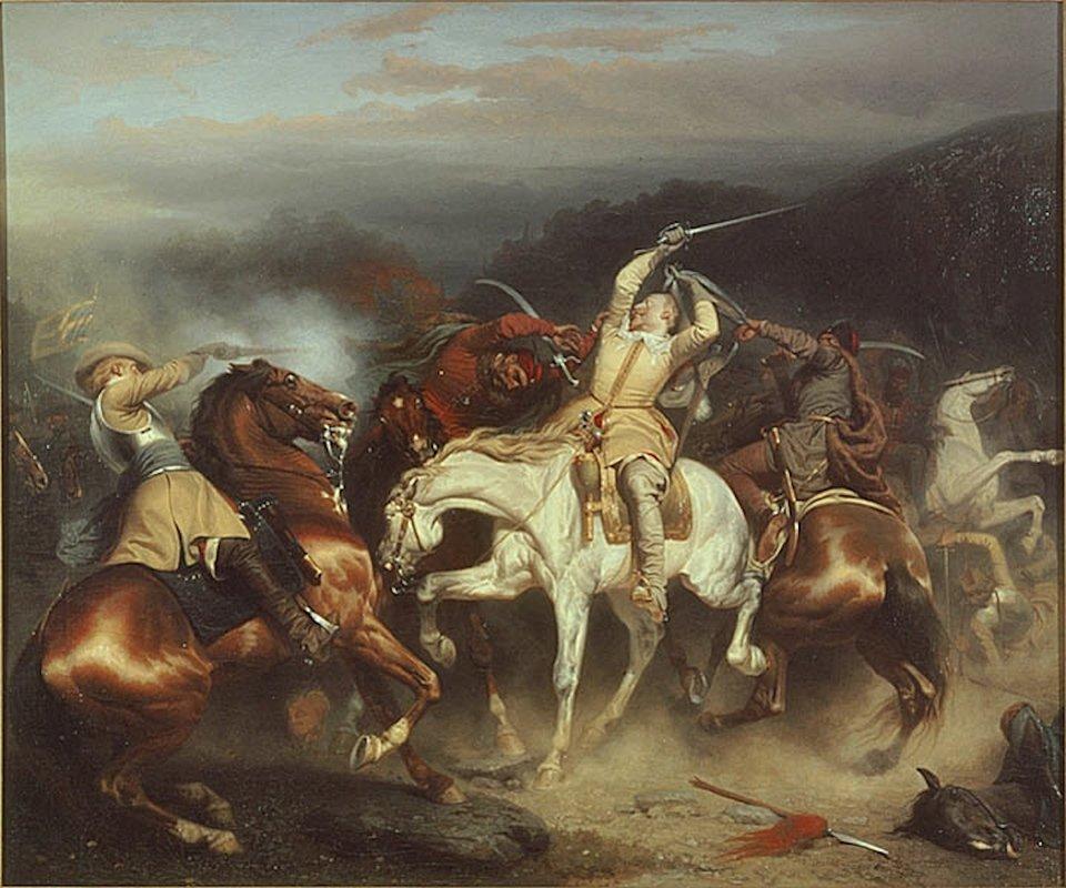 Na obrazie przedstawiona jest scena zbitwy pod Trzcianą. Wpunkcie centralnym znajduje się król szwedzki Gustaw Adolf na białym koniu, który znalazł się wdużym niebezpieczeństwie - został złapany od tyłu przez cesarskiego kirasjera za pas do rapieru iratuje się przerzucając pas nad głową. Od prawego boku próbuje zaatakować króla inny jeździec, jednak idący na odsiecz swojemu władcy dragon (lub gwardzista królewski), powala go strzałem zpistoletu. Wtle trwająca walka.