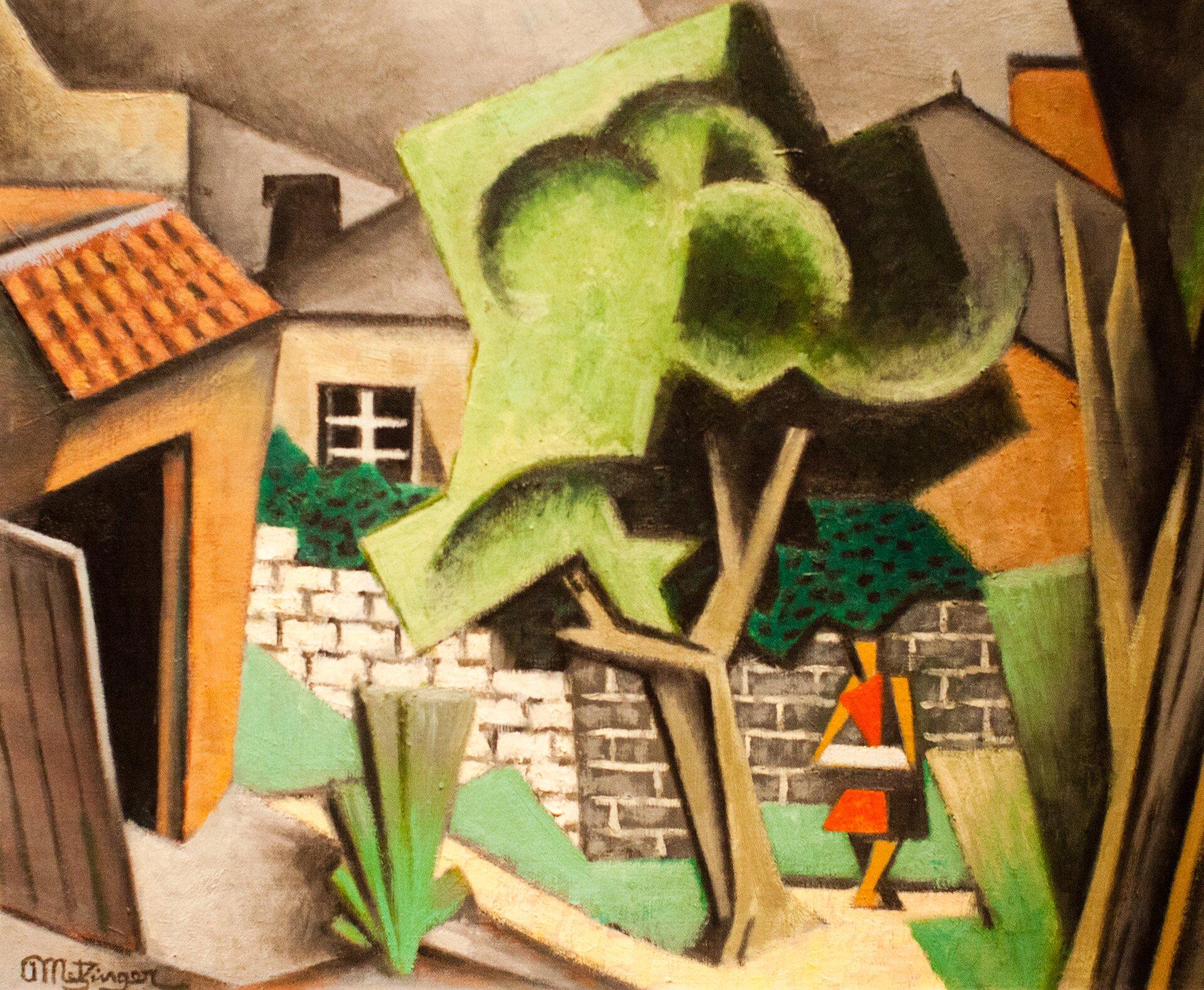 """Ilustracja przedstawia obraz Jeana Metzingera """"Pejzaż"""". Ukazuje architekturę, drzewa ikobietę. Domy przysłaniają się itworzą kubistyczne bryły. Zgeometryzowane jest również drzewo pośrodku - składa się zprostych nakładających się płaskich plam. Kobieta wczerwonej sukni, ma kształty figur geometrycznych."""