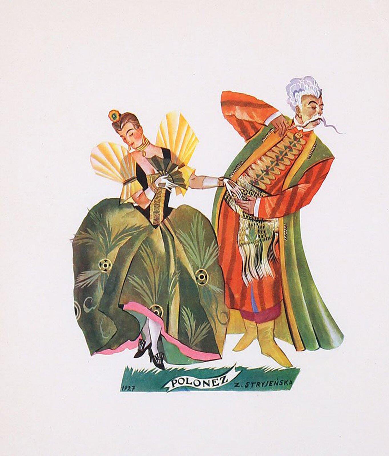 """Na ilustracji grafika Zofii Stryjeńskiej """"Polonez"""". Malarka przedstawiła parę szlachecką tańczącą poloneza. Obie postaci ubrane są wstroje ointensywnych barwach. Dama ma długą szeroką zieloną suknie, czarny dopasowany gorset, zbardzo bufiastymi żółtymi rękawkami izłotymi zdobieniami. Mężczyzna ma pomarańczowy żupan izielony kontusz, przewiązany jest bogato zdobionym, szerokim pasem kontuszowym. Obie osoby mają lekko wysuniętą do przodu lewą nogę, dama ma wzrok spuszczony wdół, nie patrzy wstronę partnera. Partner również patrzy na zewnątrz ipodkręca bardzo długiego siwego wąsa."""