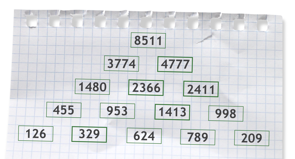 Prostokąty uzupełnione liczbami. Rozwiązanie zadania.