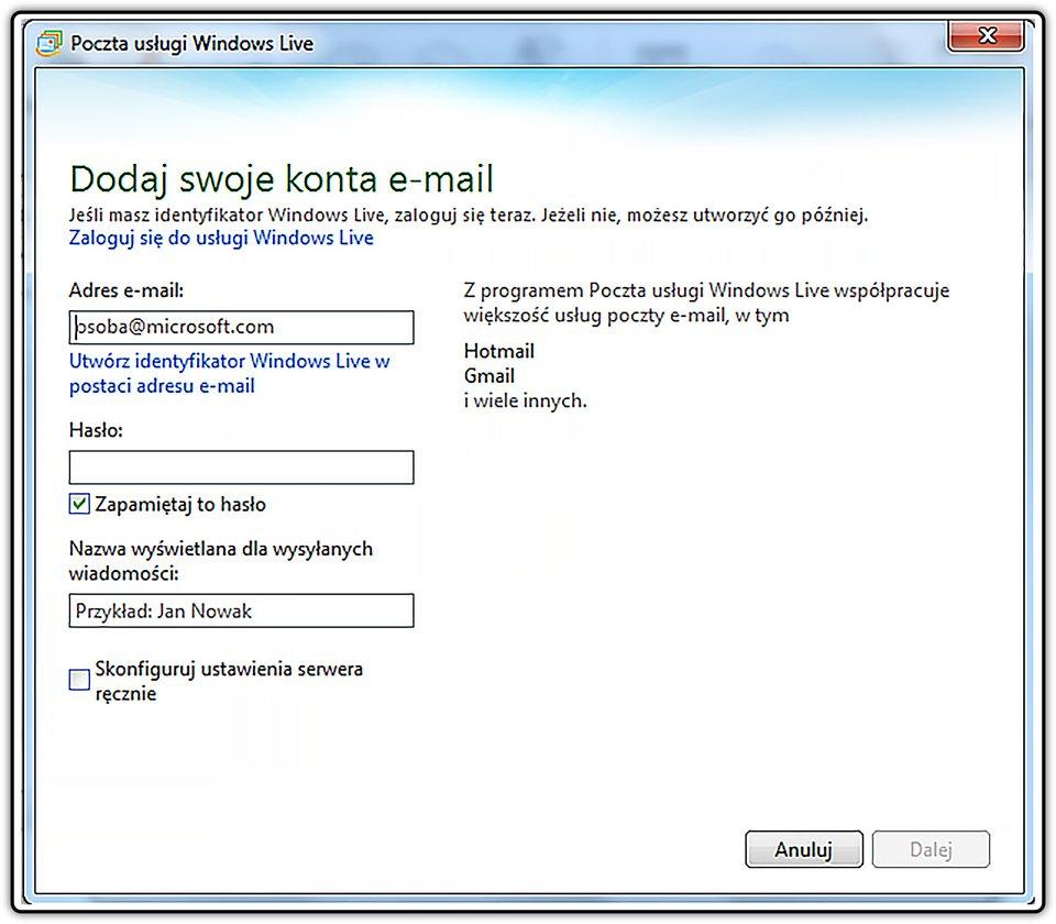 Slajd 2 galerii zrzutów okien procesu konfiguracji klienta iobsługi konta