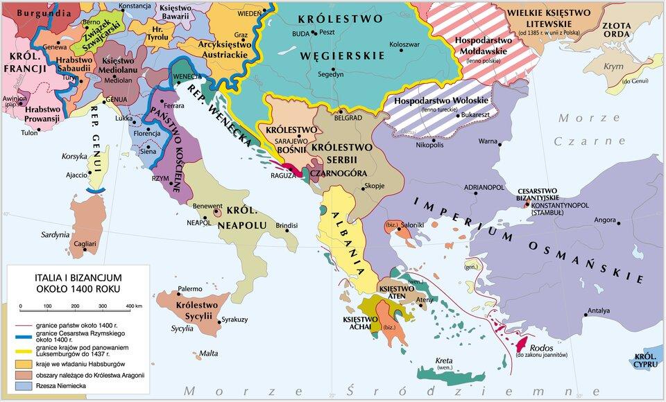 mapa pokazuje Włochy (czyli Italię) iBizancjum okolo roku 1400