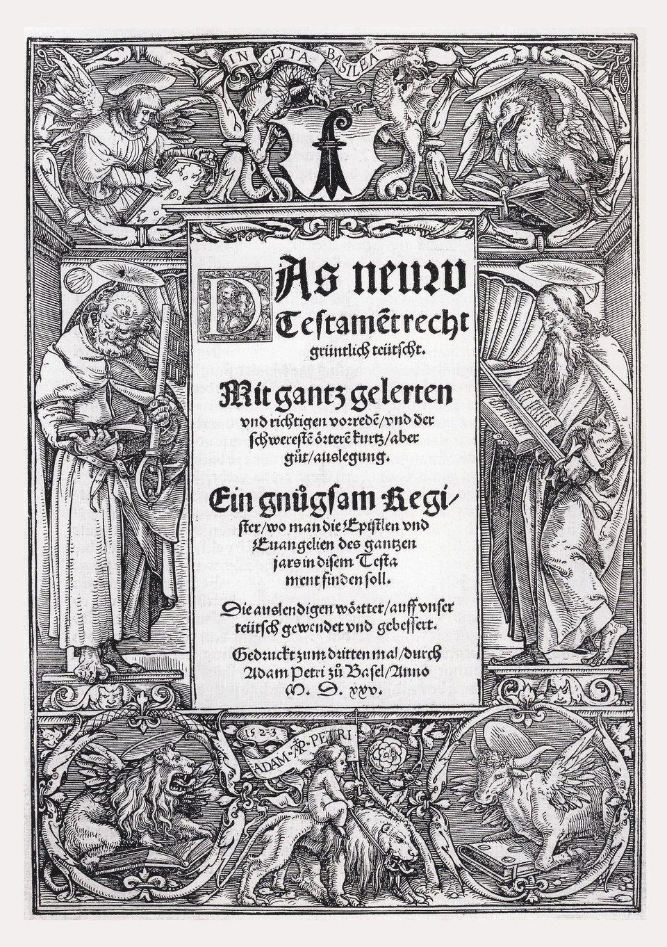 Biblia Lutra (Nowy Testament wtłumaczeniu na język niemiecki) Źródło: Hans Holbein, Biblia Lutra (Nowy Testament wtłumaczeniu na język niemiecki), 1523, domena publiczna.