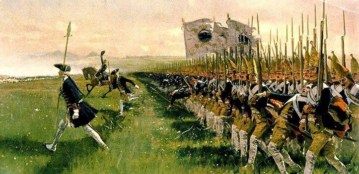 Atak piechoty pruskiej wbitwie pod Dobromierzem (Hohenfriedeberg) w1745 r. Źródło: Carl Röchling, Atak piechoty pruskiej wbitwie pod Dobromierzem (Hohenfriedeberg) w1745 r., 1913, domena publiczna.