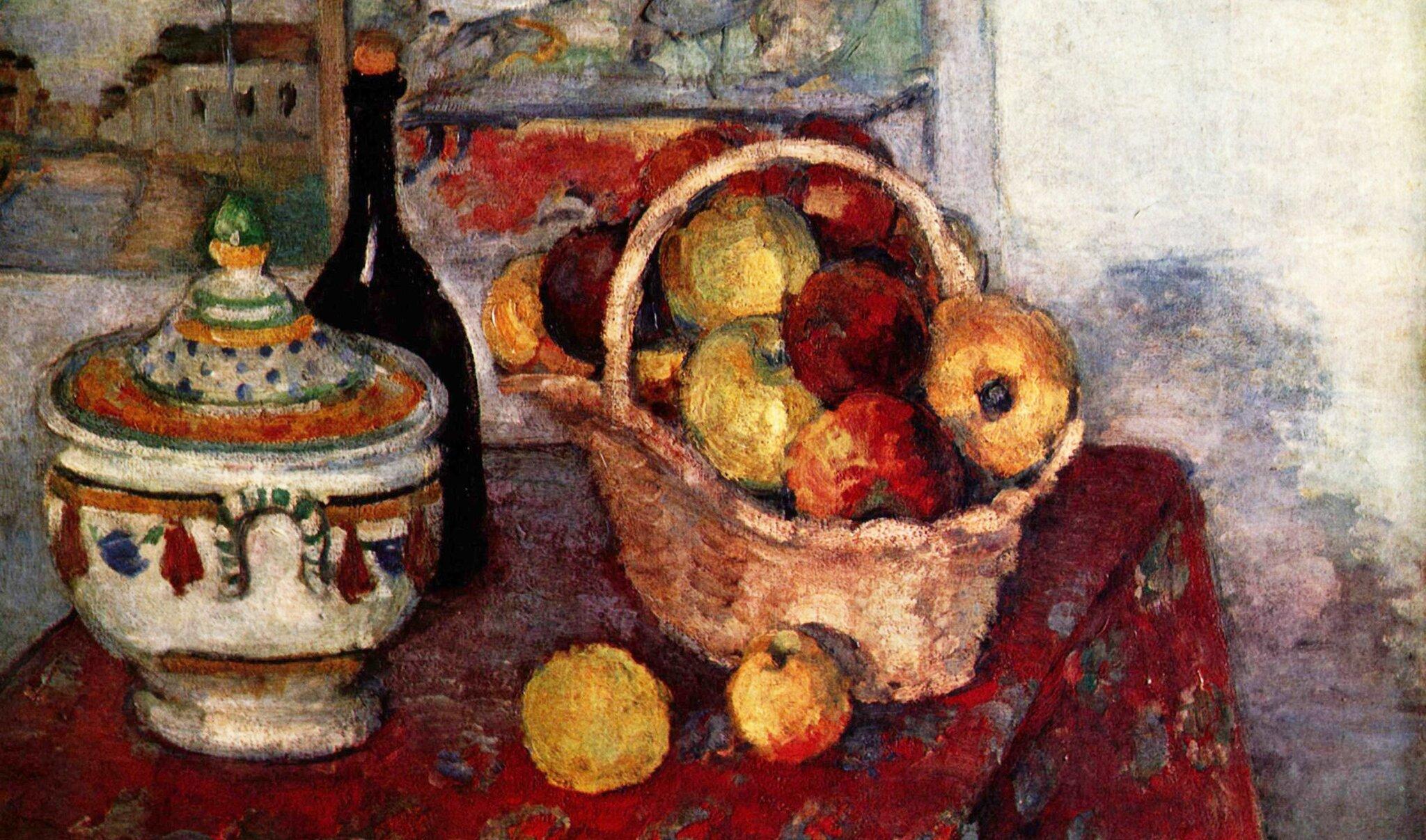 Martwa natura zwazą do zupy Źródło: Paul Cézanne, Martwa natura zwazą do zupy, 1877, olej na płótnie, domena publiczna.