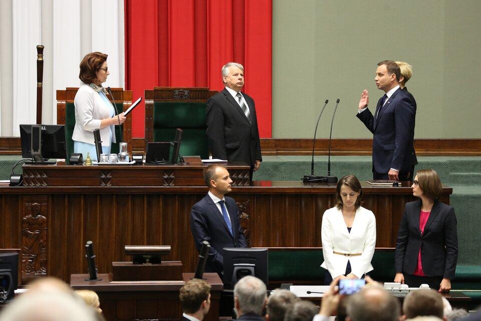 Andrzej Duda składający przysięgę przed Zgromadzeniem Narodowym