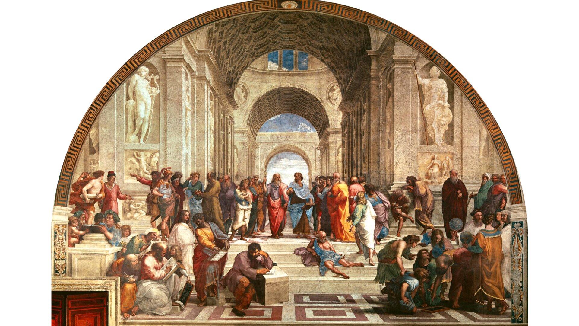 """Obraz pt. """"Szkoła ateńska"""" przedstawia zgromadzenie ludzi wbudowli składającej się złuków. Wcentrum znajdują się Platon iArystoteles."""