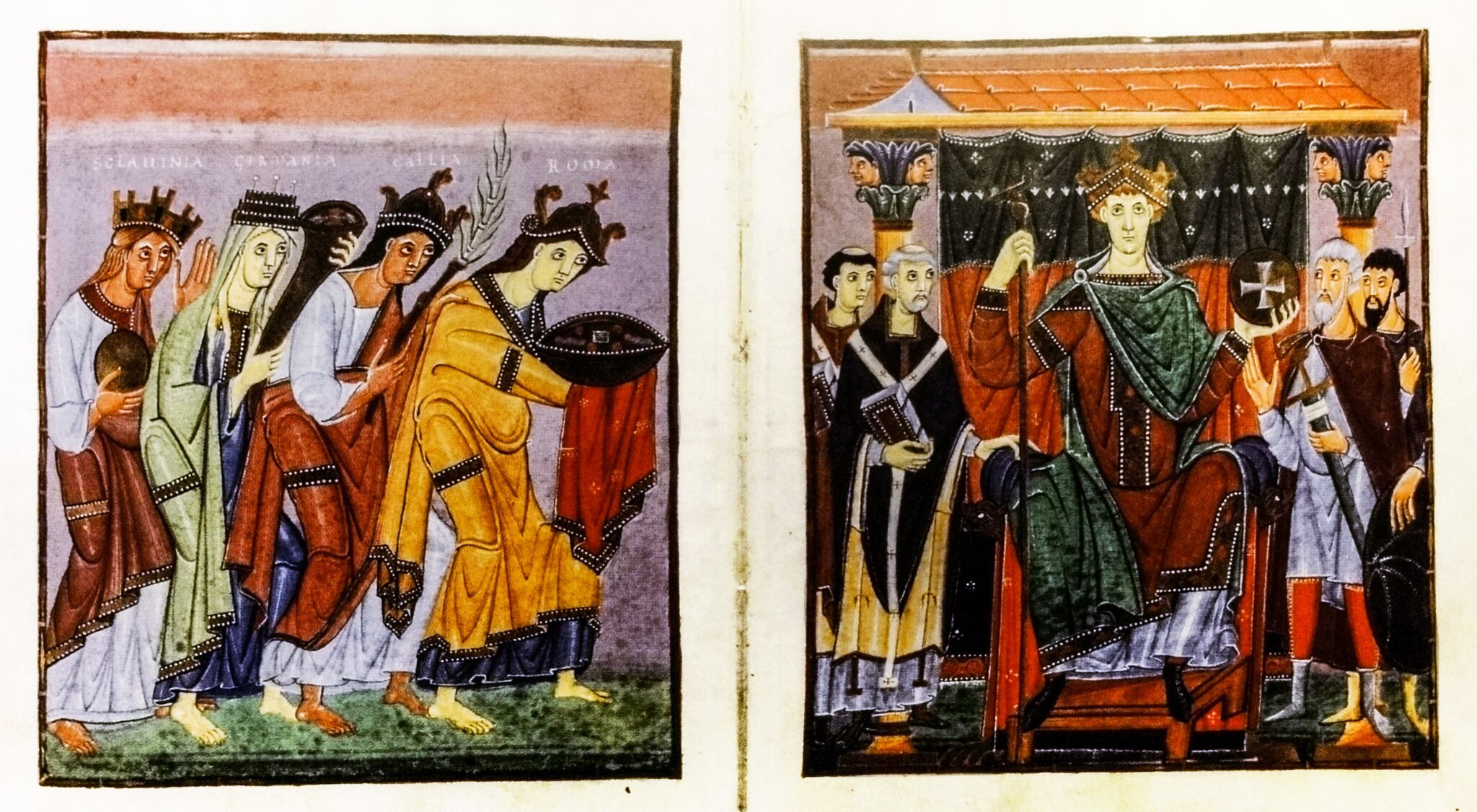 Cesarz Otton III przyjmuje dary od podległych mu prowincji Cesarz Otton III przyjmuje dary od podległych mu prowincji Źródło: Bawarska Biblioteka Państwowa, domena publiczna.