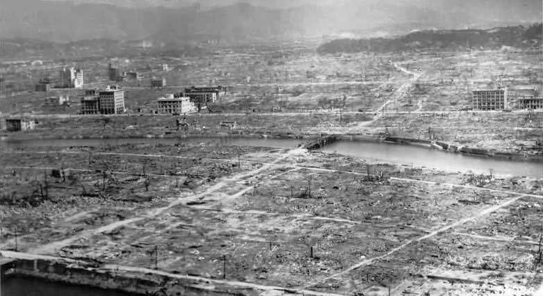 Hiroshima po ataku atomowym Hiroshima po ataku atomowym Źródło: domena publiczna.