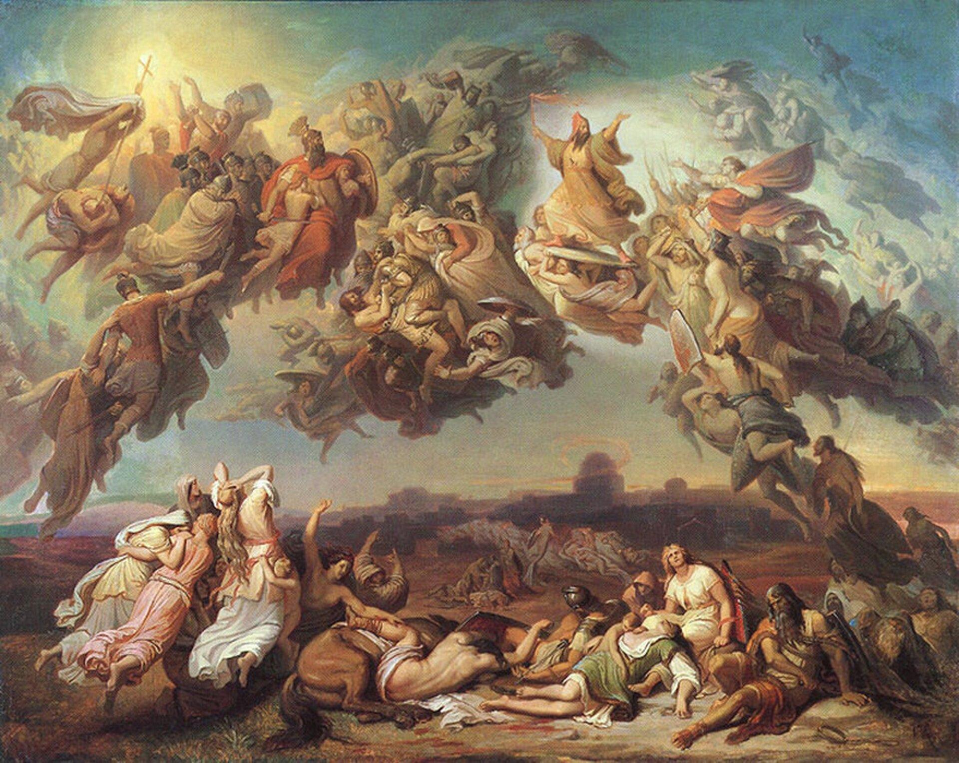 """Ilustracja przedstawia obraz Wilhelma von Kaulbacha """"Bitwa Hunów"""". Na obrazie widzimy walczących między sobą ludzi, którzy odziani są wszaty. Obraz podzielony jest na dwie części: walczących na ziemi inad powierzchnią. Płótno zainspirowało w1854 roku Franciszka Liszta do skomponowania poematu symfonicznego pod tym samym tytułem."""