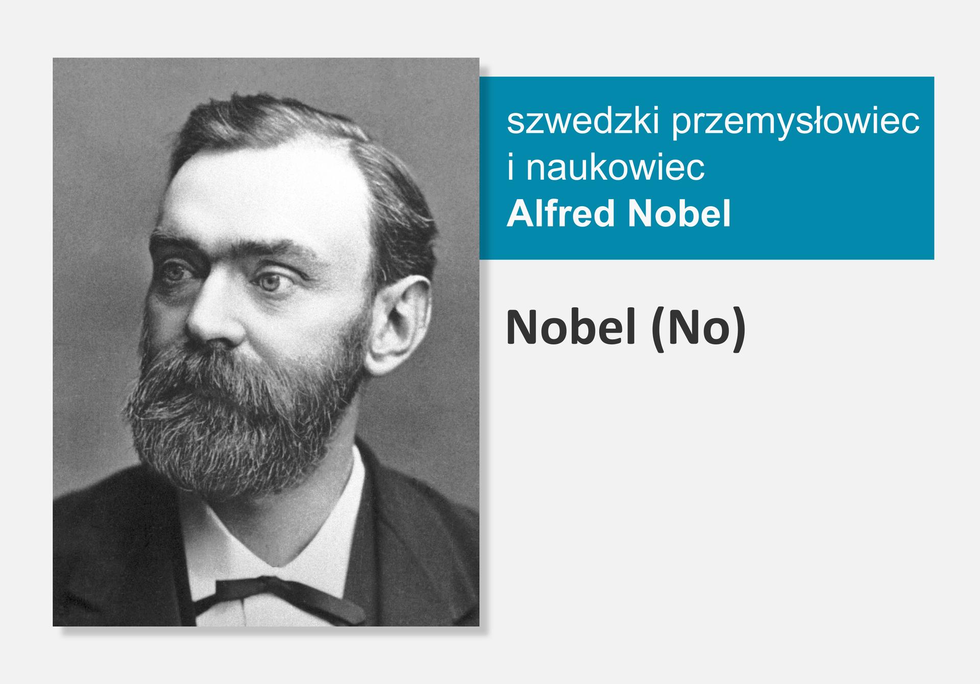 Fotografia szwedzkiego przemysłowca inaukowca Alfreda Nobla, obok nazwa isymbol pierwiastka Nobel (No)