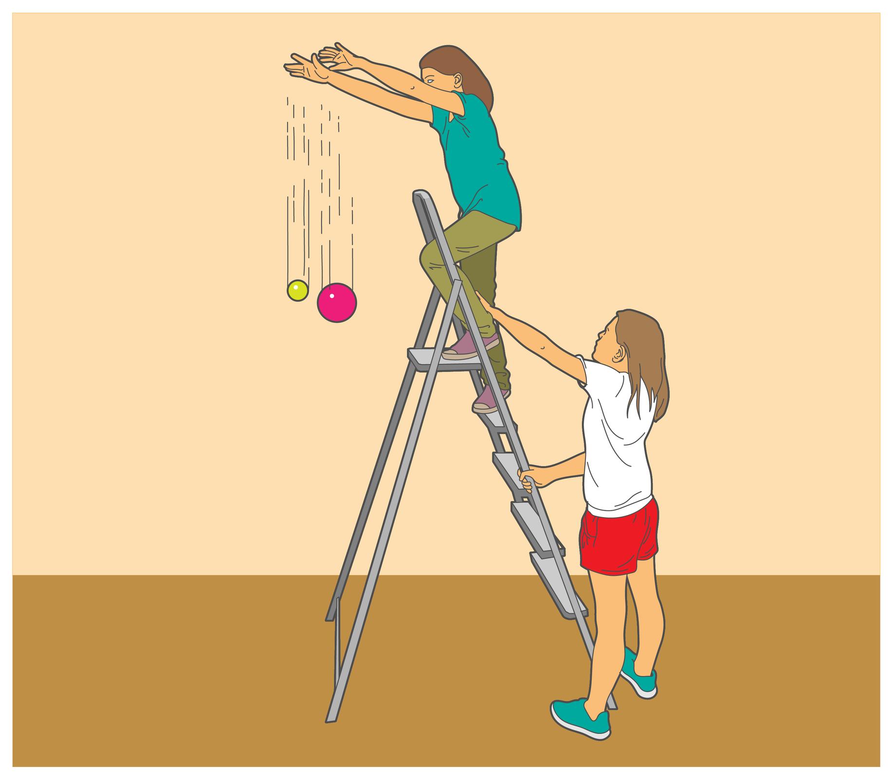 Ilustracja przedstawia dziewczynkę stojącą na drabinie iwypuszczającą zrąk dwie kule różnej wielkości. Obie kule spadają na podłogę ztą samą prędkością.