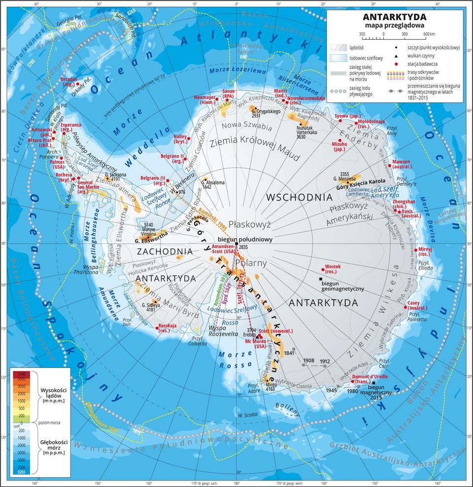 Ilustracja przedstawia mapę przeglądową Antarktydy. Cały obszar lądowy pokolorowany jest kolorem szarym co oznacza lądolód pokrywający całą powierzchnię kontynentu. Morza zaznaczono odcieniami koloru niebieskiego. Na mapie opisano nazwy krain geograficznych, lodowców, przylądków. Oznaczono czarnymi kropkami iopisano szczyty górskie. Czerwonymi kropkami przedstawiono stacje badawcze. Jest ich około trzydziestu iznajdują się gównie na wybrzeżach. Mapa pokryta jest równoleżnikami ipołudnikami. Dookoła mapy wbiałej ramce opisano współrzędne geograficzne co dziesięć stopni. Wlegendzie umieszczono iopisano znaki użyte na mapie.