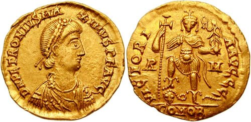 Solid cesarza Petroniusza Maksymusa, 455 r. Solid cesarza Petroniusza Maksymusa, 455 r. Źródło: Classical Numismatic Group, licencja: CC BY-SA 3.0.