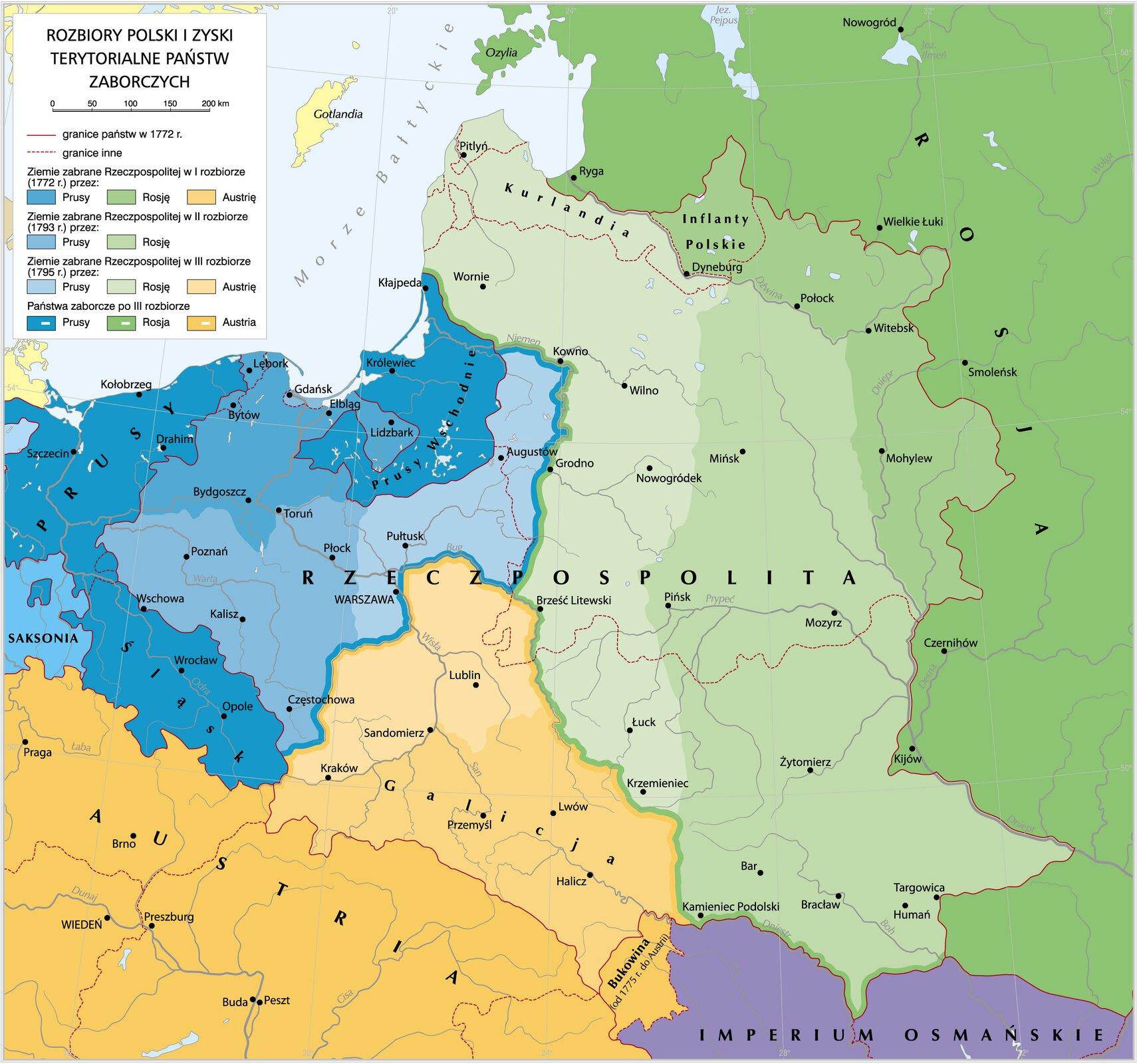 Rozbiory Polski izyski terytorialne poszczególnych mocarstw przy kolejnych zaborach