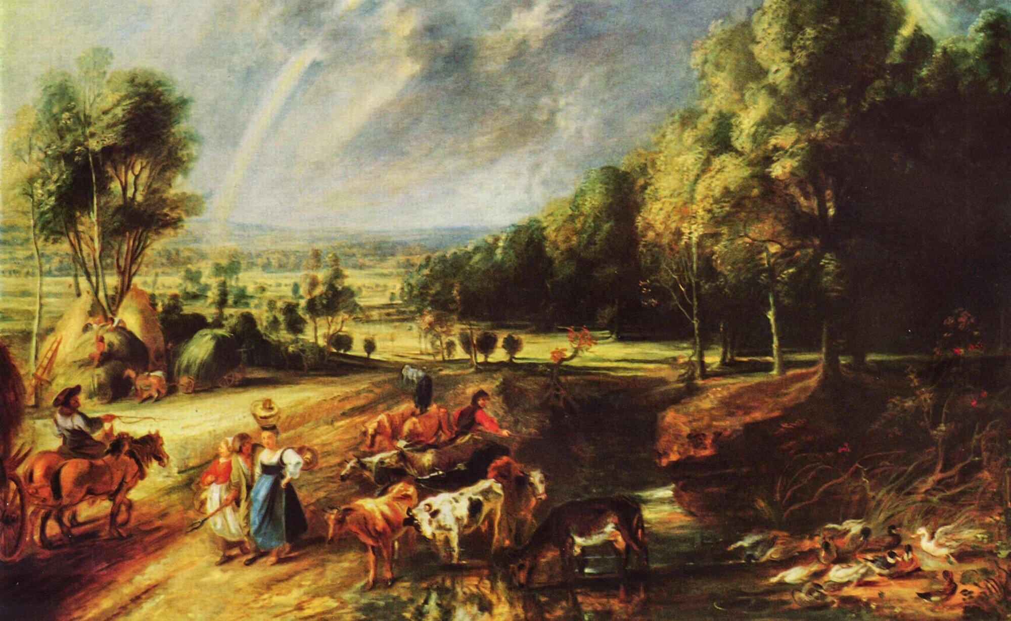 Krajobraz ztęczą Źródło: Peter Paul Rubens, Krajobraz ztęczą, 1640, obraz olejny, Alte Pinakothek, Monachium, domena publiczna.