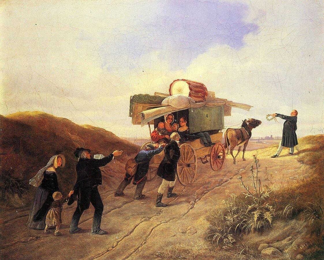 Wędrowni komedianci 2. Źródło: Carl Spitzweg, Wędrowni komedianci, 1838, olej na płótnie, kolekcja prywatna, domena publiczna.
