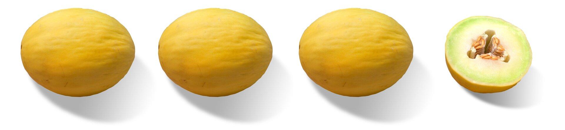 Rysunek trzech całych melonów ipołowa czwartego melona.