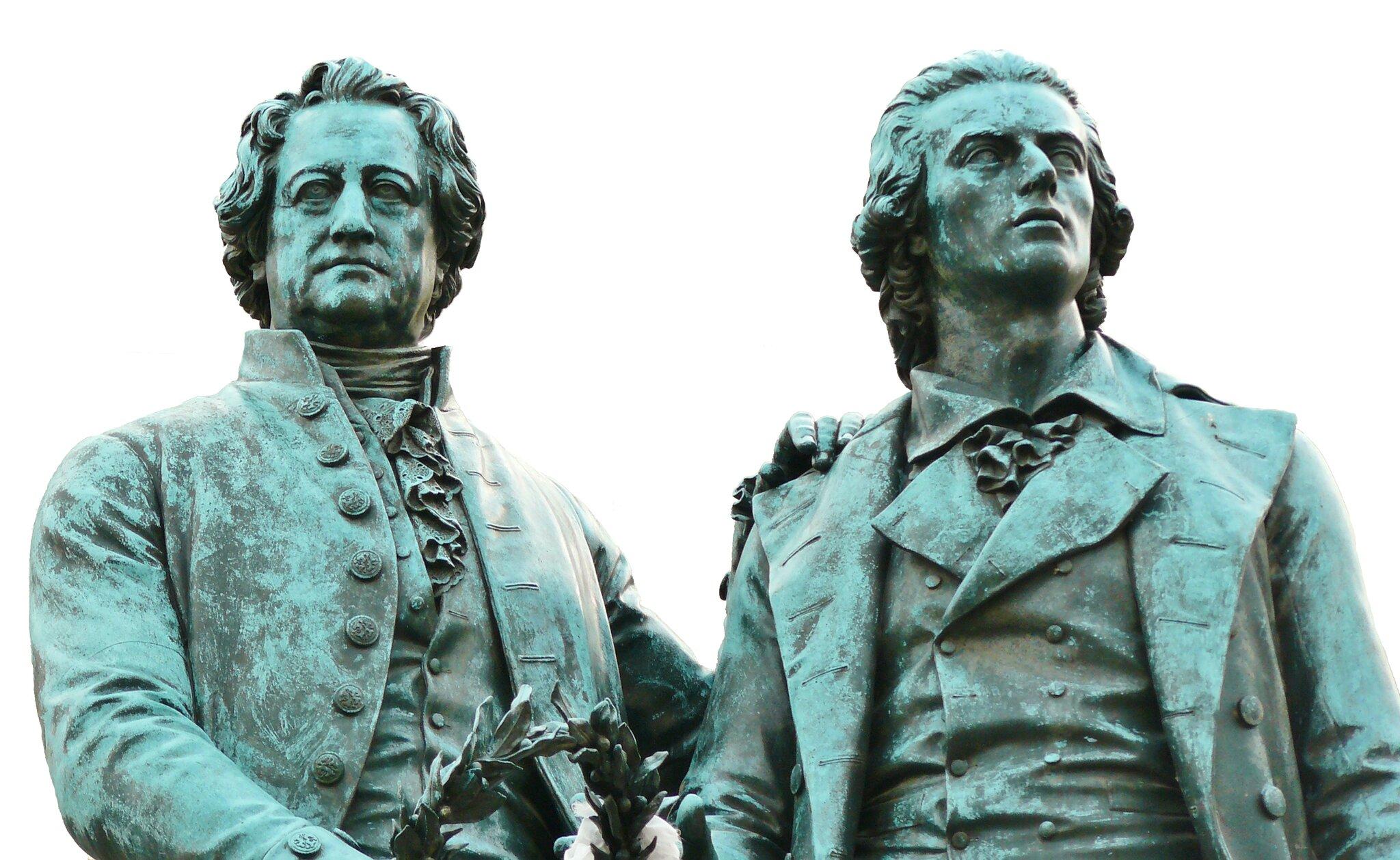 Pomnik Johanna WolfgangaGoethego iFryderyka Schillera wWeimarze Pomnik Johanna WolfgangaGoethego iFryderyka Schillera wWeimarze Źródło: domena publiczna.