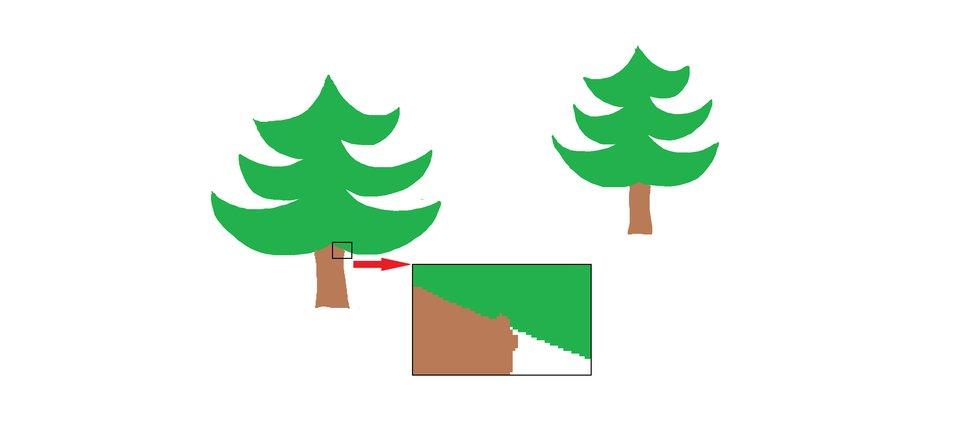 Ilustracja przedstawiająca powiększony fragment rysunku zwidocznymi pikselami