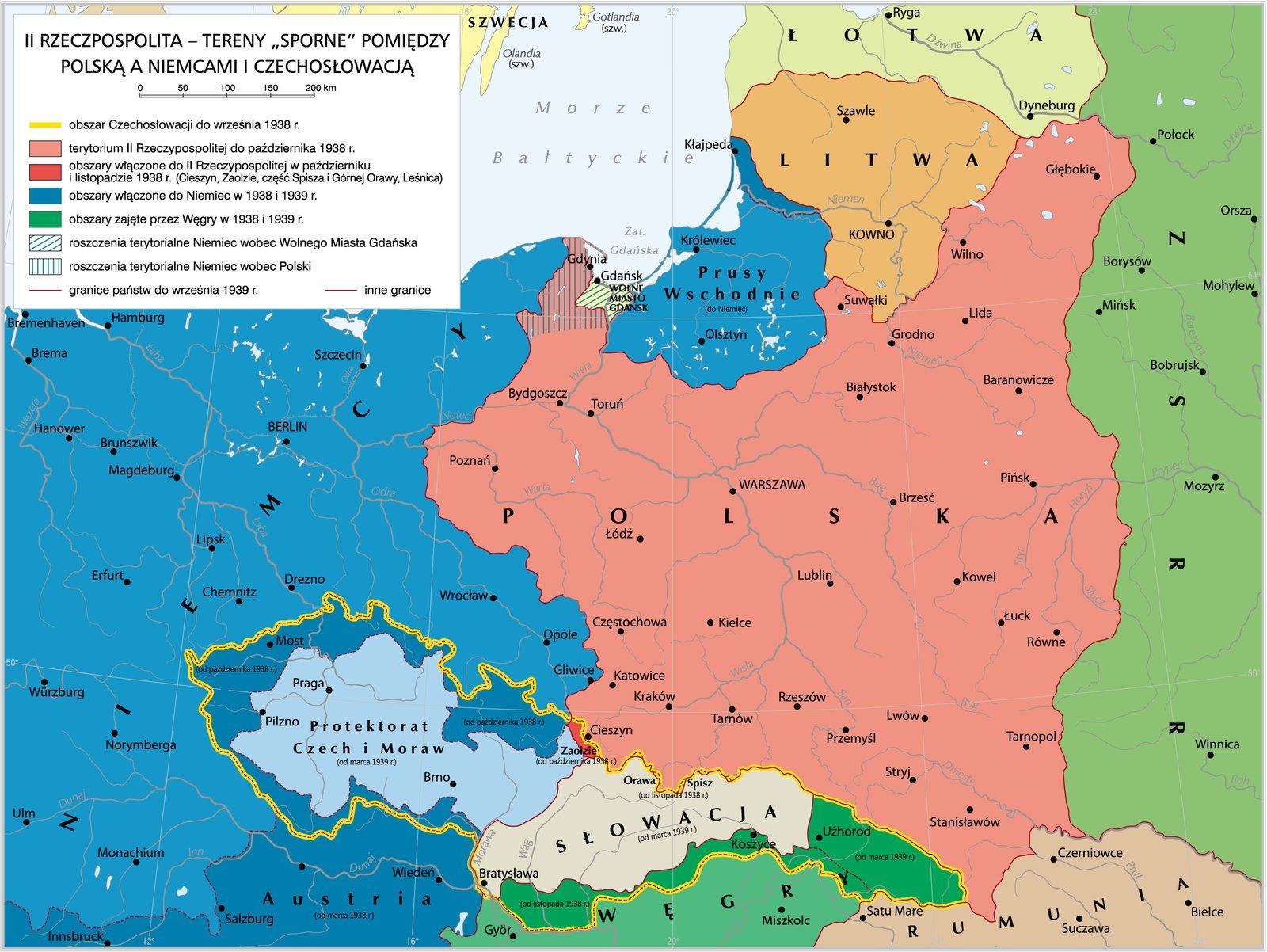 Tereny sporne między Polską aNiemcami iCzechosłowacją Tereny sporne między Polską aNiemcami iCzechosłowacją Źródło: Krystian Chariza izespół, licencja: CC BY 3.0.