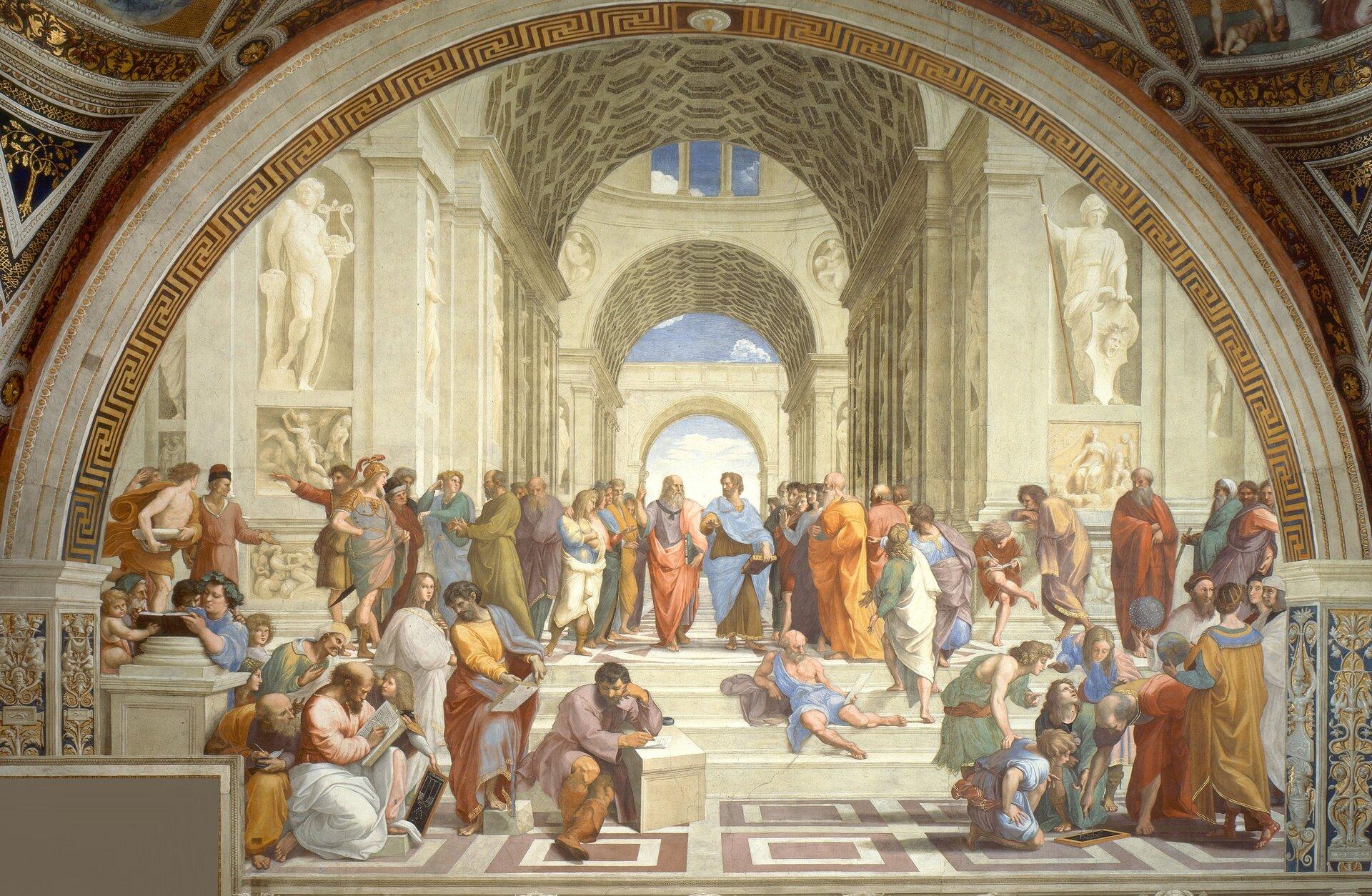 Szkoła ateńska Źródło: Rafael Santi, Szkoła ateńska, 1510–1511, domena publiczna.