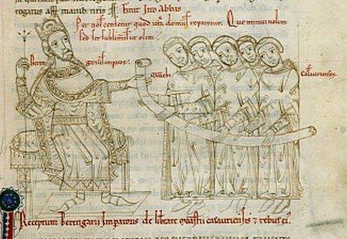 Król Italii Berengar Iprzedstawiony na rękopisie wXII-wiecznej kronice. Źródło: Johannes Berardi, Król Italii Berengar Iprzedstawiony na rękopisie wXII-wiecznej kronice., licencja: CC 0.